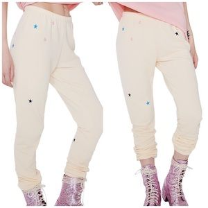 NWT Wildfox Star Embroidered Sweatpants